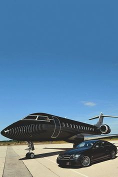 Black Private Jet | Despite the evolution of air travel, the private jets still only belong to the rich and/or the famous. | http://www.therichest.com #luxury #luxurylifestyle #luxuriousliving #privatejet #jet