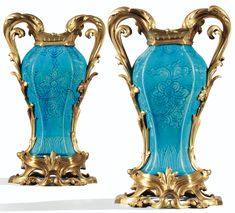 date unspecified A PAIR OF GILT BRONZE AND PORCELAIN VASES, THE MOUNTS LOUIS XV, THE PORCELAIN KANGXI (1662-1722) Estimation  20,000 — 30,000  EUR 26,301 - 39,452USD. unsold