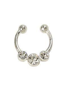 LOVEsick Triple Clear CZ Faux Septum Ring,