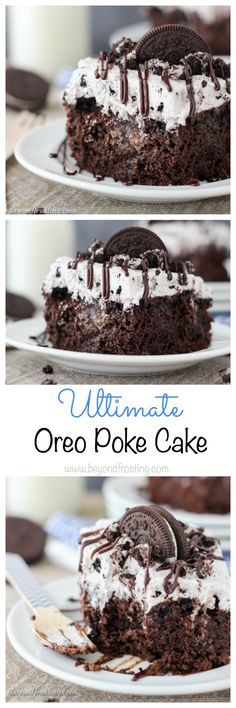 There's way too much to love with this Ultimate Oreo Poke Cake. The chocolate cake is loaded with Oreos, it's soaked in chocolate pudding and topped with an Oreo whipped cream!