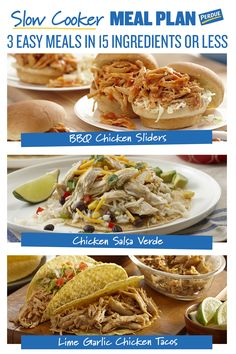 Save some time with these 'set and forget' meals. Make 3 great slow cooker recipes with 15 or fewer ingredients. See the full recipes on Perdue.com