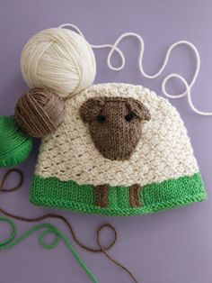 """Cascade Yarns blog ~ Knit Sheep Hat by Renee Lorion.  This adorable sheep hat is from their book """"60 Quick Baby Knits & More in 220 Superwash"""".  Sized to fit ages 6 to 12 months."""