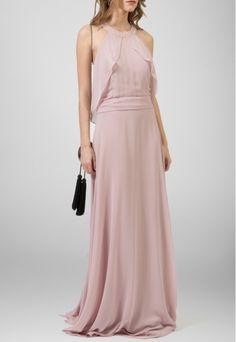 POWERLOOK - Aluguel de Vestidos Online -Vestido Silk longo frente única com babados Powerlook - lavanda #powerlook #silk