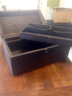 Antique rustic wooden storage tool chest