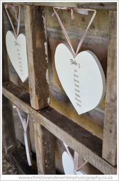 Heart shaped wedding seating chart.