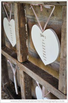 Heart shaped wedding seating chart.