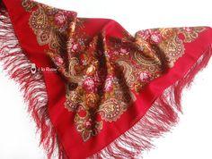 ♥ russischer Schal á la Russe mit Blumenmuster   ♥ scarf á la Russe