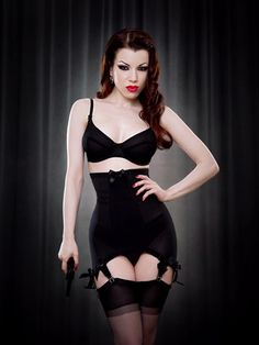 Kiss Me Deadly Vargas Longline Girdle in Black