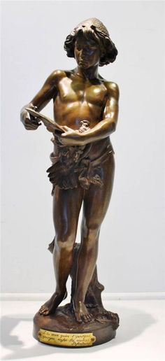 19C French Figural Bronze of a Boy Clipping a Birds Wings Signed by Gregoire NR
