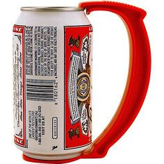 Meet the Instant Beer Stein Can Grip Handle! This red plastic handle snaps securely onto your beer or soda can to create an instant stein that keeps your hot little hands from warming up your drink. And really, who feels like holding an ice-cold, dripping wet can anyway?