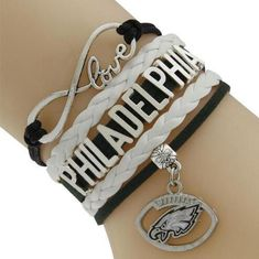 Inch + 3 Inch Extended Clasp Chain Zinc Alloy Charms One-size-fits-all Perfect for Eagles fans Made from authentic football leather Raised laces give the re Philadelphia Football, Eagles Fans, Love Bracelets, Football Team, Bracelet Watch, Jewelry Watches, Chain, Trending Outfits, Unique Jewelry