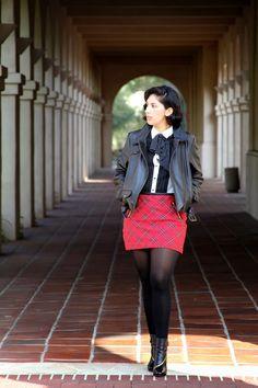 Rocks Fashion Bug: Mad for Plaid Plaid Skirt, Leather, Polka dots, Scarves, skirt, Booties, DVF