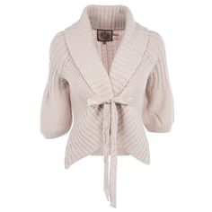 JUICY COUTURE JG002069 PINK WOOL/NYLON/ALPACA 0 ($190) ❤ liked on Polyvore featuring tops, cardigans, jackets, sweaters, outerwear, women, wool tops, puffed sleeve top, juicy couture and puff sleeve top