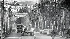 Avenida de Calvo Sotelo, hoy de la Constitución en los primeros años de la década de los setenta. Torres Molina/Archivo de IDEAL Granada, Plaza, Abstract, Antiques, Artwork, Cottages, Outdoor, Old Photography, Historical Photos