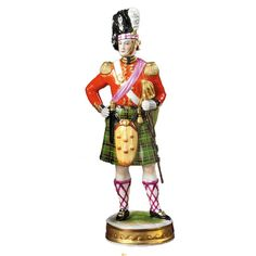 Handmade Handpainted British Soldier Figurines From Germany Are Based On Decorative Themes That Were Particularly Popular In The Century They Fine Porcelain, Porcelain Ceramics, Tartan Plaid, Black Plaid, Scottish Actors, Military Figures, British Soldier, Scottish Tartans, Royal Doulton