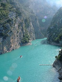 Gorges du Verdon ~ canyon of Verdon is considered is the highest canyon in Europe. The canyon is situated in south – eastern France