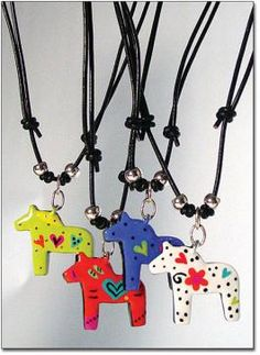 Dala Horse Necklaces. These are adorable!