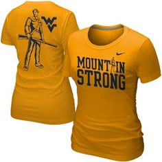 Nike West Virginia Mountaineers Ladies Student Body Fan T-Shirt - Gold