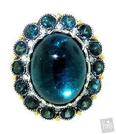 Blue Cab Tourmaline & Diamond Ring - Arman