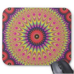 Thorn mandala mouse pad $12.10 *** Abstract bohemian fractal art design - mouse pad
