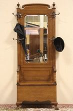 Oak 1900 Antique Hall Bench & Mirror, Coat & Hat Stand Hall Bench, Hall Stand, Candle Sconces, Wall Lights, Hat, Candles, Mirror, Antiques, Projects