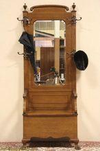 Oak 1900 Antique Hall Bench & Mirror, Coat & Hat Stand