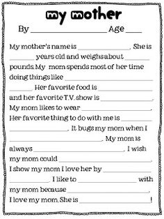 Mother's Day Writing: It's First Grade!: freebie