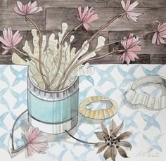 Small Pot of Seaweed and Thrift - watercolour drawing by Angie Lewin Watercolour Drawings, Watercolor Paintings, Watercolours, Angie Lewin, Coastal Art, Graphic Patterns, Painting Inspiration, Flower Art, Printmaking