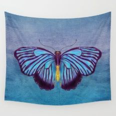 Butterflies And Burlap Wall Tapestry