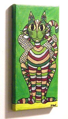 NFAC ORIGINAL 6 x 12 PAINTING on CANVAS Woodland Cat Abundance Fairy DEBBIE HART #WhimsicalFolkArt