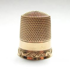 Antique Edwardian Solid Gold Sewing Thimble 10K. via Etsy.