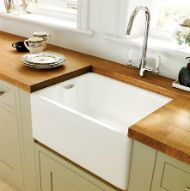 Cream sink - like setting under wood as avoids sealing Benchmarx Kitchen, Kitchen Ideas, Deep Sink, Belfast Sink, Sink Taps, Joinery, Cottage Style, Flooring, Wood