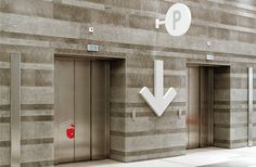 A Simple and modern design for an Elevator Lobby. Beautiful, Simple, creative,and classic Environmental Graphic Design, Environmental Graphics, Visual Design, Wayfinding Signs, Directional Signage, Parking Signs, Parking Lot, Centre Commercial, Signage Design