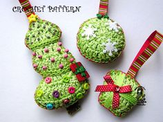 Christmas tree decoration crochet patterns 3 pieces by VendulkaM