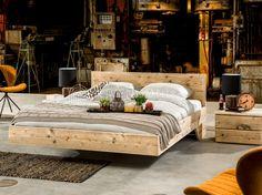 Geweldig zwevend bed van steigerhout | model Flow | scaffold wood bed Flow | http://www.livengo.nl/steigerhouten-bed-flow | #steigerhouten #bedden #slapen #livengo