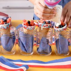 These red, white, and blue fruit cones are an easy and healthy 4th of July dessert. Kids will love the chocolate dipped cones and the fun and festive sprinkles and you'll love the healthy fruit salad filling! #fourthofjuly #easydessert #healthy #fruit #bhg 4th Of July Desserts, Fourth Of July Food, Summer Dessert Recipes, Dessert Drinks, Sweet Desserts, Easy Desserts, July 4th, Fruit Cones, Holiday Snacks