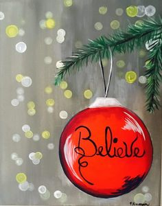 Christmas paintings on canvas - How To Paint An Ornament With Blurry Lights Tracie's Canvas Tutorials – Christmas paintings on canvas Canvas Painting Tutorials, Easy Canvas Painting, Diy Canvas, Easy Paintings, Painting For Kids, Diy Painting, Acrylic Canvas, Pumpkin Painting, Indian Paintings