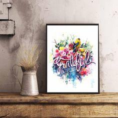 Typography Grateful Handlettered Grateful Art print