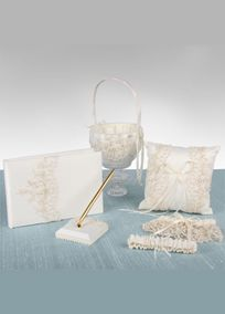 Elegantly hand embroidered beaded lace with pearls and sequins adorn this David's Bridal Exclusive gift set. The set includes a guest book and pen, ring pillow, flower girl basket and garter set. Available in ivory only. Available online only.