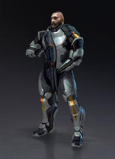 Sci-fi suit male, Jianli Wu on ArtStation at https://www.artstation.com/artwork/QWkLB