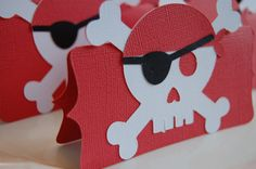"""So simple to make these Pirate treat bag toppers with the cricut. Just fill cello bags with the """"booty treasure"""" and viola! Instant goodie bags to pass out to the guests."""