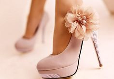 pretty flower pink high heel shoes