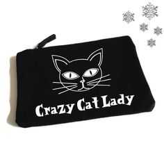 Crazy Cat Lady. Funny Makeup Bag. Accessory Bag. Jewelry Pouch. Cosmetic Bag. Funny MakeUp Slogan. Make Up Bag by SoPinkUK on Etsy
