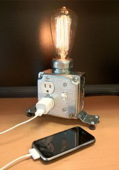 A great docking station and light combo--Industrial desk lamp by Keep.com