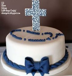 I Love Doing All Things Crafty: Simple Communion Cake for a Boy Boy Communion Cake, First Holy Communion Cake, Fondant Cakes, Cupcake Cakes, Comunion Cakes, Religious Cakes, Confirmation Cakes, Occasion Cakes, Cakes For Boys