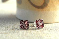 Halloween earrings  Spider web earrings  Fused glass by BGLASSbcn