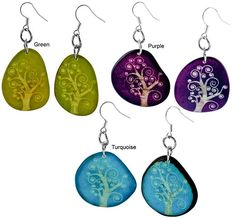 Tree of Life Etched Tagua Earrings at The Animal Rescue Site