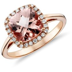 Blue Nile Morganite and Diamond Halo Cushion-Ring in 14k Rose Gold. Super gorgeous!