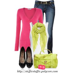 Melon & Chartreuse, created by steffiestaffie on Polyvore I know this set will brighten any day