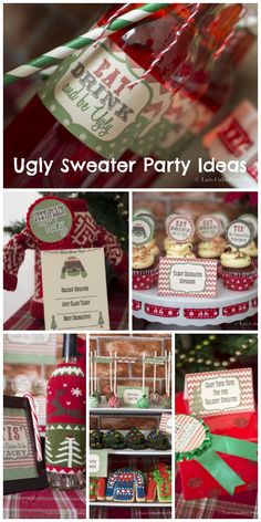Throwing an ugly sweater Christmas party? See more party ideas at… Tacky Christmas Party, Tacky Christmas Sweater, Christmas Party Themes, Ugly Sweater Party, Xmas Party, Holiday Parties, Christmas Holidays, Christmas Crafts, Holiday Ideas